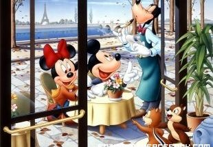 Mickey y Minnie en un romantico París